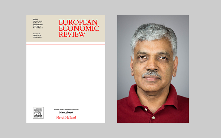 Side-by-side image of the cover of the January 2020 issue of the European Economic Review and a portrait of B. Ravikumar