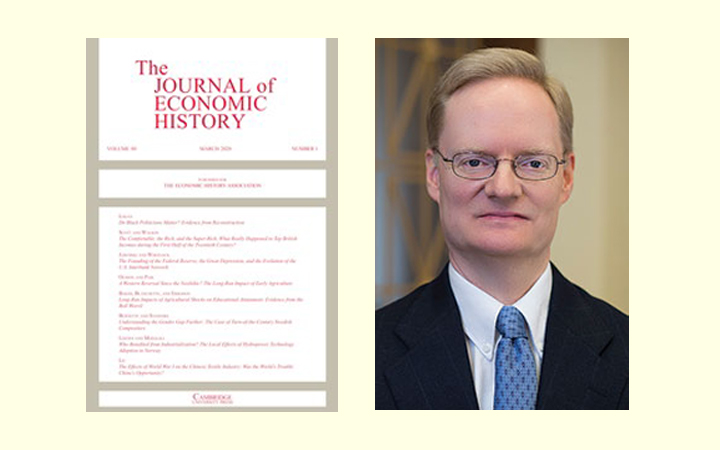 Side-by-side image of the cover of the Journal of Economic History and a portrait of David Wheelock