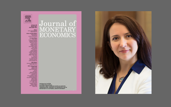 Side by side images of the cover of the Journal of Monetary Economics and a photo of Oksana Leukhina